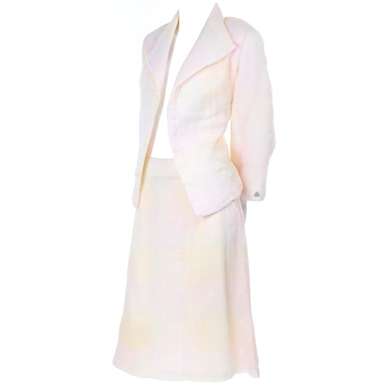 Chanel Suit With Skirt & Open Jacket in Ivory Pink & Yellow Pastel Ombre Silk For Sale 1