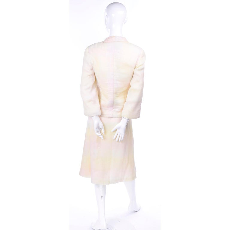 Chanel Suit With Skirt & Open Jacket in Ivory Pink & Yellow Pastel Ombre Silk For Sale 3