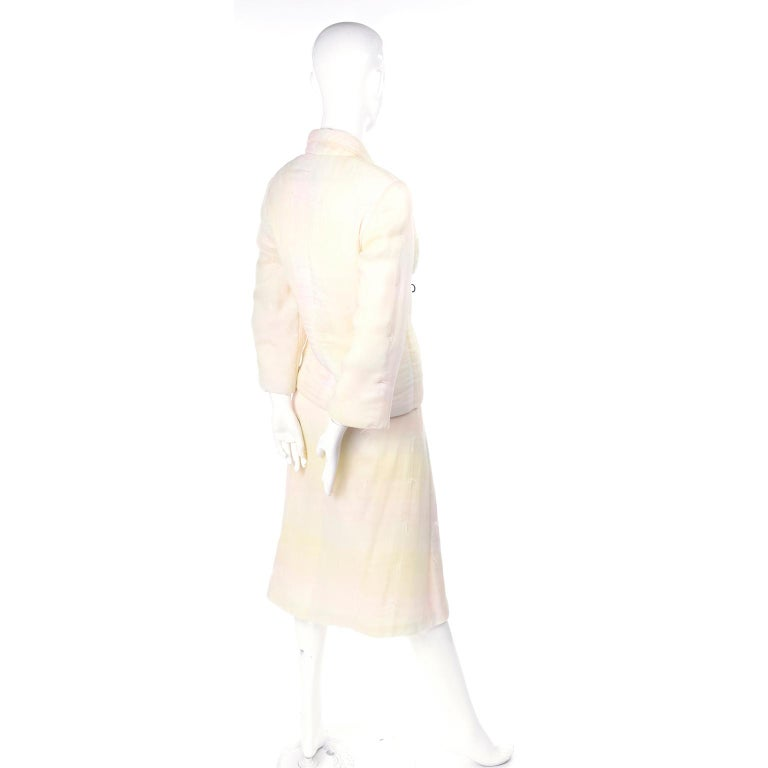 Chanel Suit With Skirt & Open Jacket in Ivory Pink & Yellow Pastel Ombre Silk For Sale 4