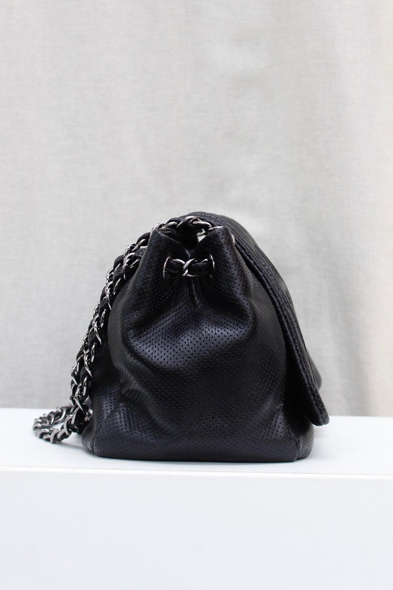 Black Chanel superb black leather bag, 2008/2009 Fall/Winter Collection For Sale
