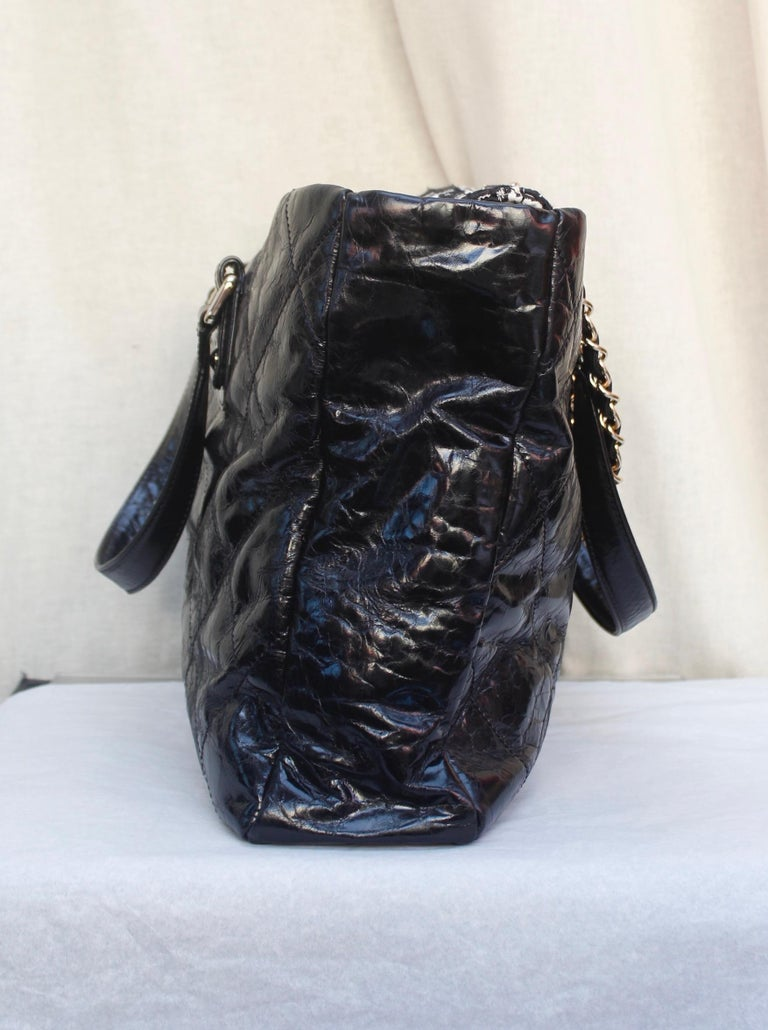 Chanel superb black patent leather and tweed tote bag, 2008 – 2009 For Sale 1