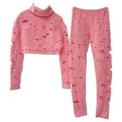 Chanel Supermarket Runway Pink Wool Pant Suit