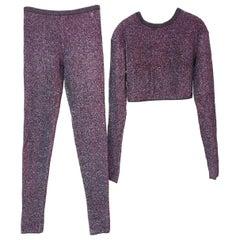 Chanel Supermarket Runway Purple Metallic Viscose Pant Suit