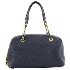 Chanel Surpique Bowling Bag Chevron Wrinkled Lambskin Medium