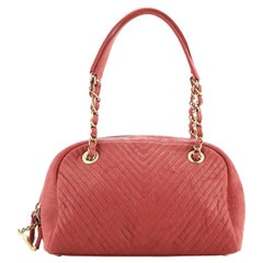 Chanel Surpique Bowling Bag Chevron Wrinkled Lambskin Small
