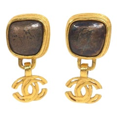 CHANEL Swing coco antique processing GP Womens earrings gold x antique brown