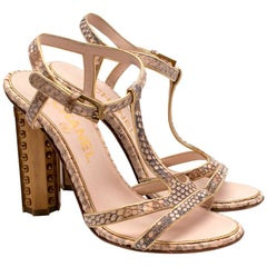 Chanel T-Strap Nude Python Heeled Sandals 36