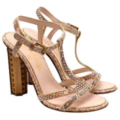 Chanel T-Strap Nude Python Heeled Sandals - EU 36