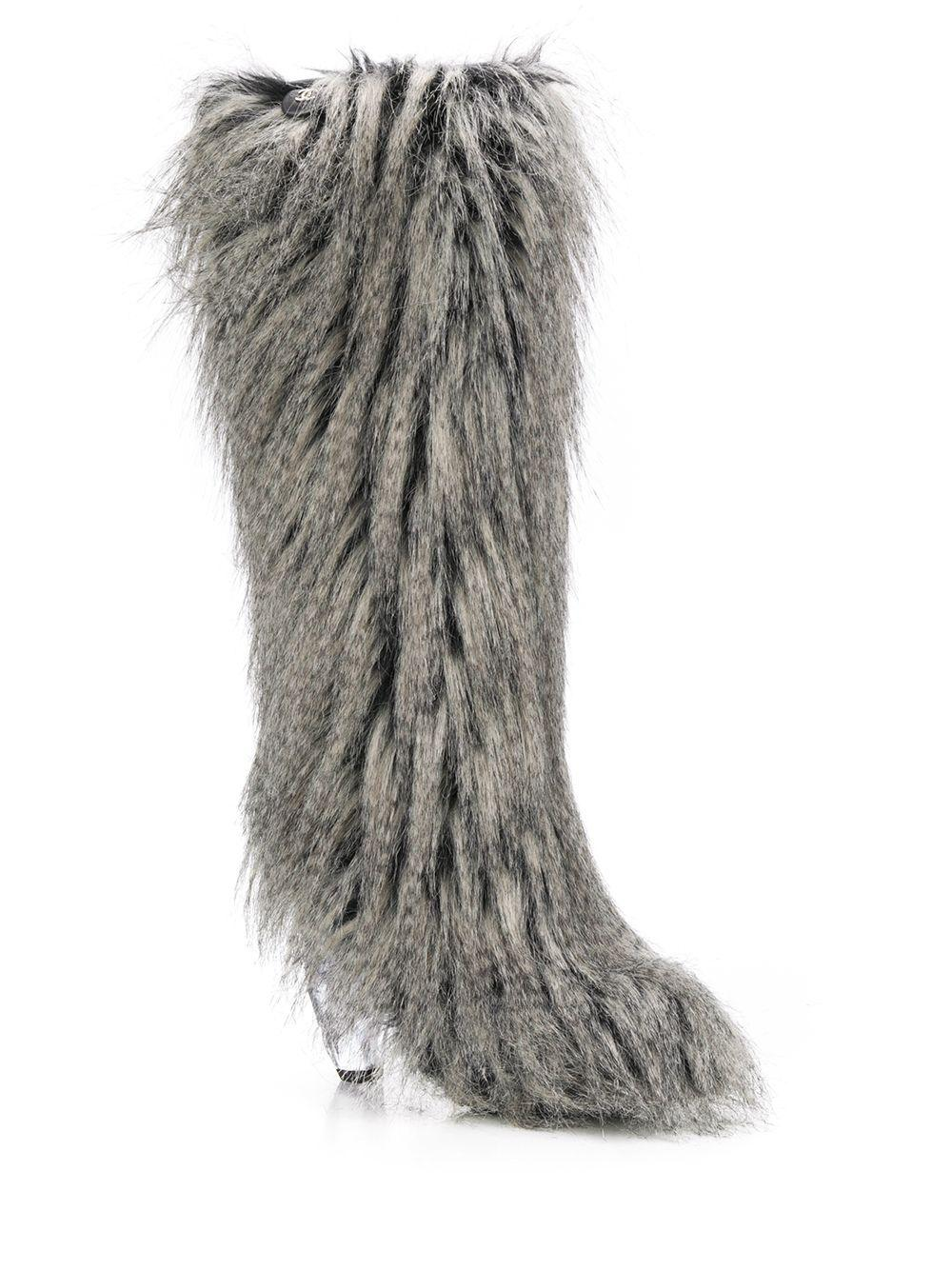 Chanel Tall Faux Fur Boots at 1stDibs