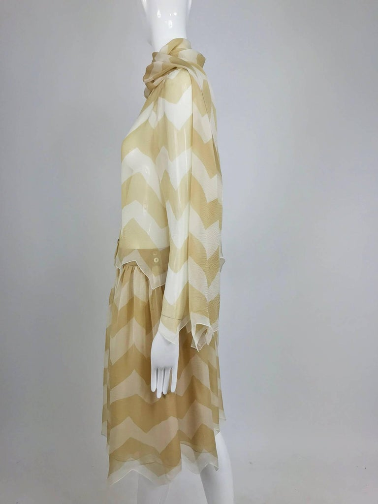 Chanel tan and cream zig zag silk chiffon blouse and skirt 2000A For Sale 5