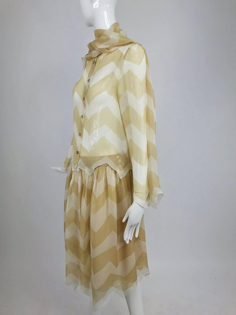 Chanel tan and cream zig zag silk chiffon blouse and skirt 2000A For Sale 7