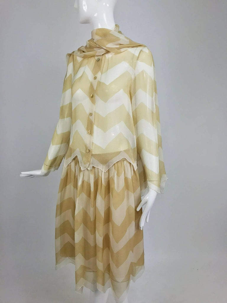 Chanel tan and cream zig zag silk chiffon blouse and skirt 2000A For Sale 8