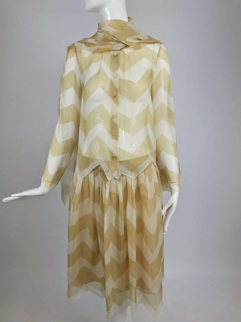 Chanel tan and cream zig zag silk chiffon blouse and skirt 2000A For Sale 9