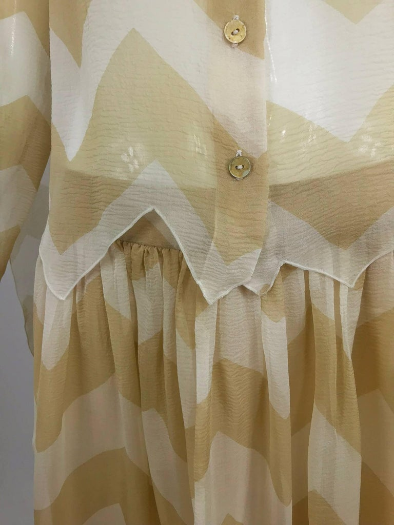 Chanel tan and cream zig zag silk chiffon blouse and skirt 2000A For Sale 10