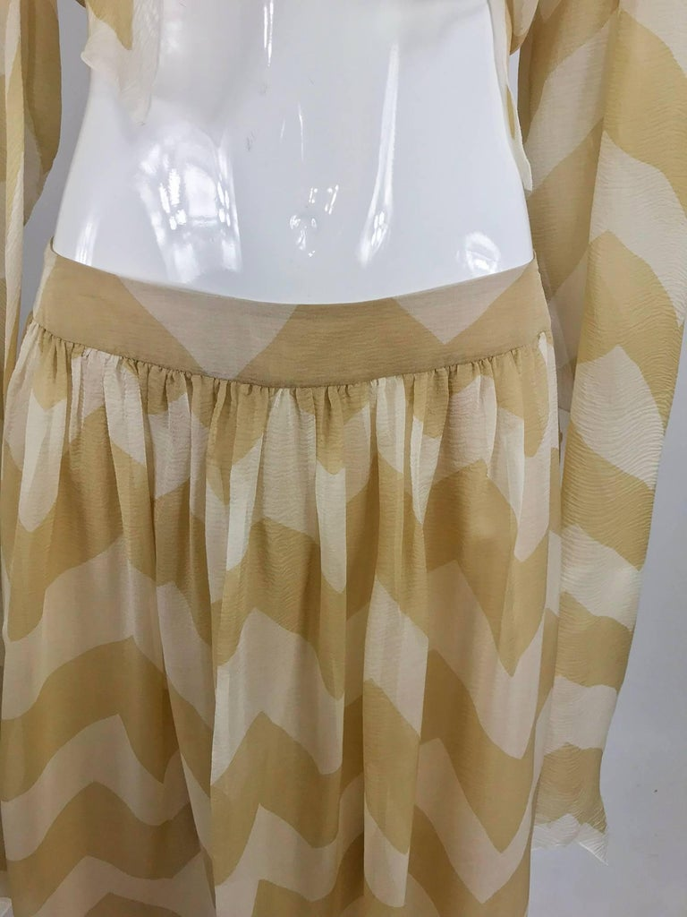 Chanel tan and cream zig zag silk chiffon blouse and skirt 2000A For Sale 11