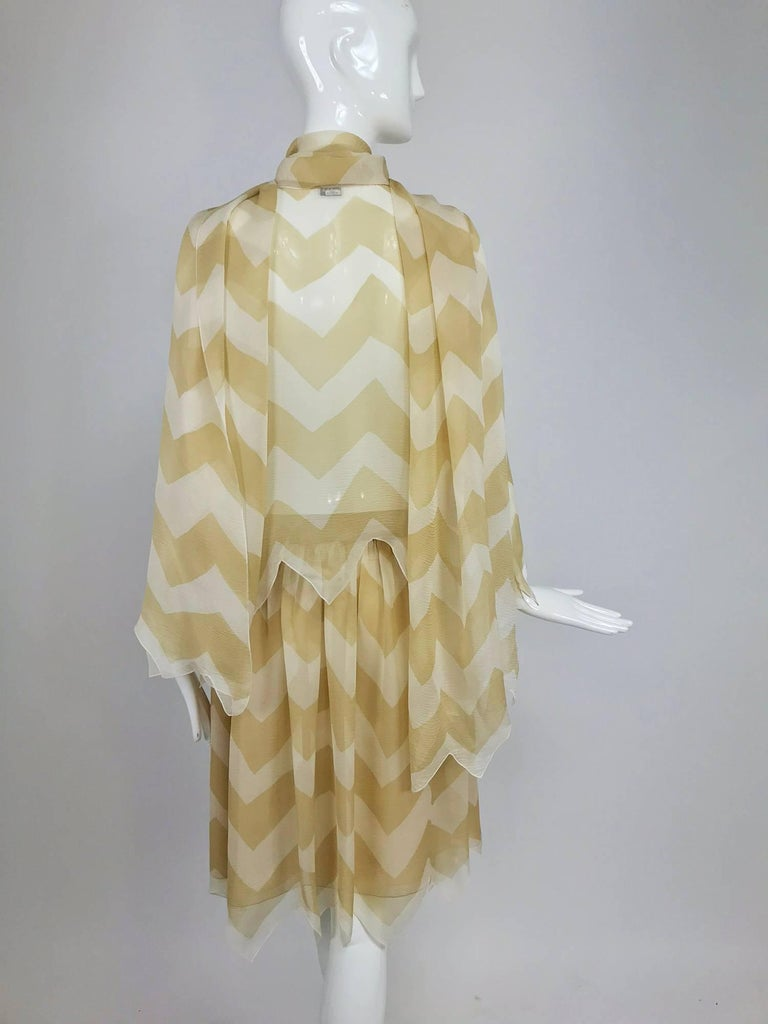 Chanel tan and cream zig zag silk chiffon blouse and skirt 2000A For Sale 1