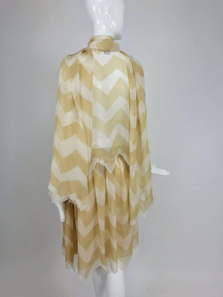 Chanel tan and cream zig zag silk chiffon blouse and skirt 2000A For Sale 2