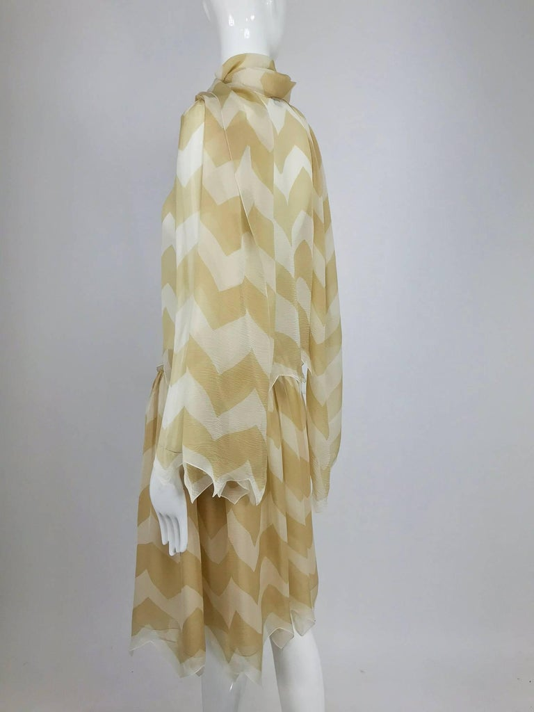 Chanel tan and cream zig zag silk chiffon blouse and skirt 2000A For Sale 3