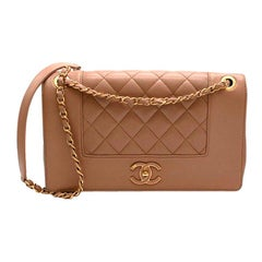 Chanel Tan Calfskin Smooth & Quilted Double Flap Bag