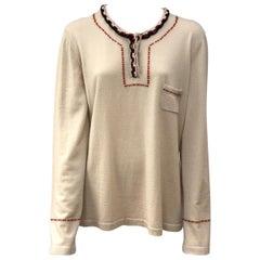Chanel Tan Cashmere Sweater w/ Trim Detail-48
