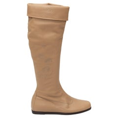 Chanel Tan Knee-High Leather Boots