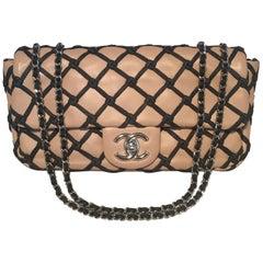 Chanel Tan Leather Lattice Canebiers Medium Classic Flap Bag