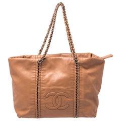 Chanel Tan Leather Medium Modern Chain Tote