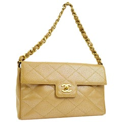 Chanel Tan Nude Caviar Leather Gold Iridescent Evening Shoulder Flap Bag in Box