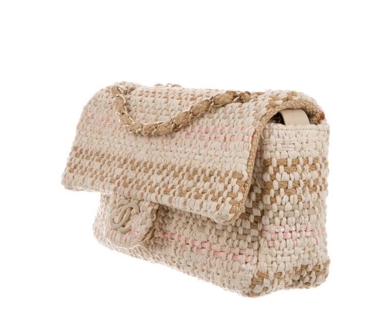Beige Chanel Tan Pink Brown Tweed Raffia Gold Medium Evening Flap Shoulder Bag For Sale