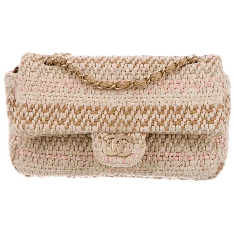 Chanel Tan Pink Brown Tweed Raffia Gold Medium Evening Flap Shoulder Bag For Sale