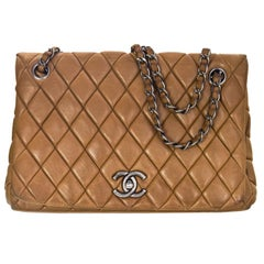Chanel Tan Quilted Lambskin Bubble Small Flap Bag