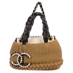 Chanel Tan Woven Tweed Leather Chain Charm Beach Travel Shoulder Tote Bag