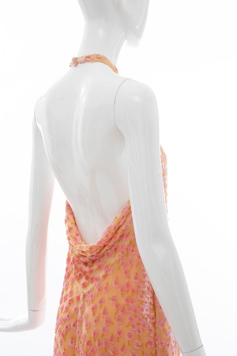 Chanel Tangerine & Pink Voided Silk Chiffon Velvet Halter Dress, Cruise 2001 For Sale 5