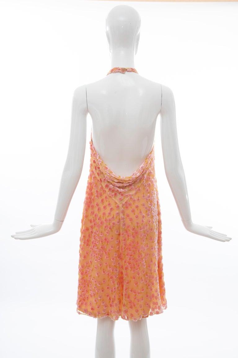 Chanel Tangerine & Pink Voided Silk Chiffon Velvet Halter Dress, Cruise 2001 For Sale 6