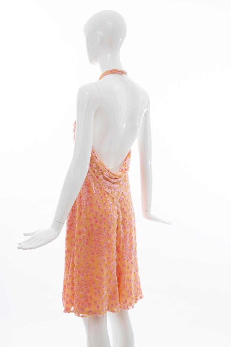 Chanel Tangerine & Pink Voided Silk Chiffon Velvet Halter Dress, Cruise 2001 For Sale 7