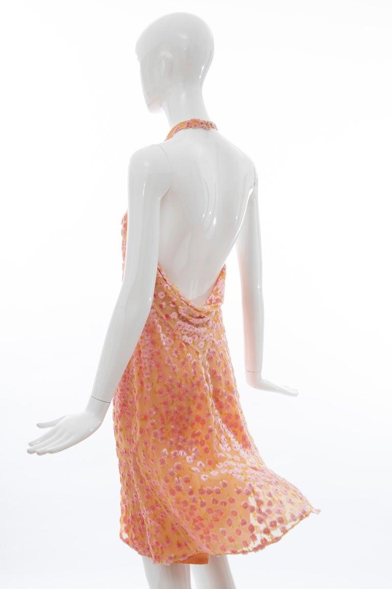Chanel Tangerine & Pink Voided Silk Chiffon Velvet Halter Dress, Cruise 2001 For Sale 8