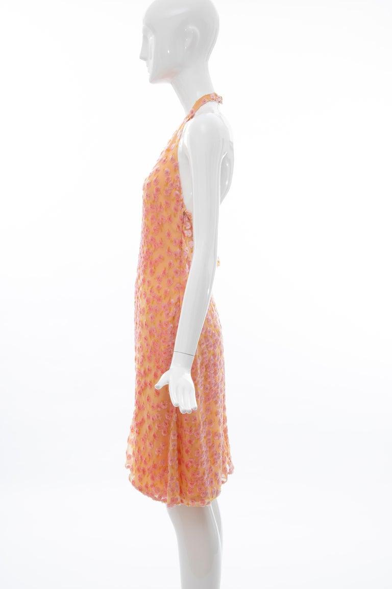 Chanel Tangerine & Pink Voided Silk Chiffon Velvet Halter Dress, Cruise 2001 For Sale 9