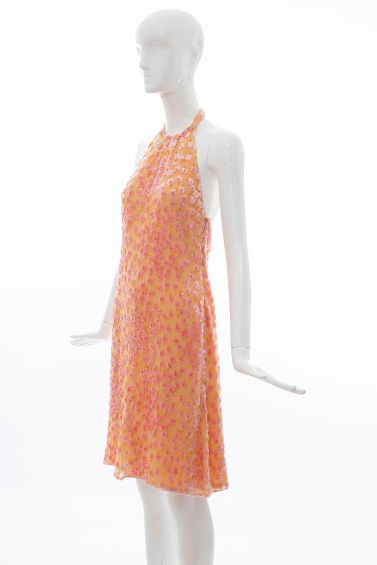 Chanel Tangerine & Pink Voided Silk Chiffon Velvet Halter Dress, Cruise 2001 For Sale 10
