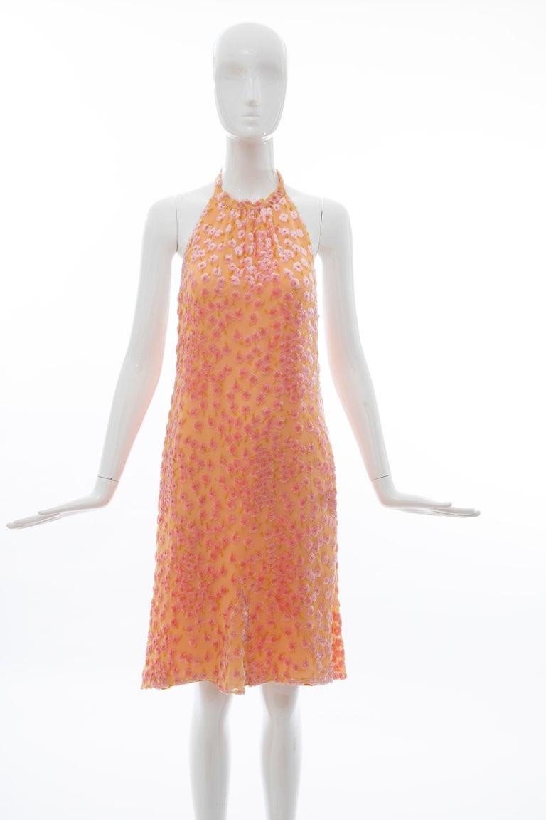Chanel Tangerine & Pink Voided Silk Chiffon Velvet Halter Dress, Cruise 2001 For Sale 11