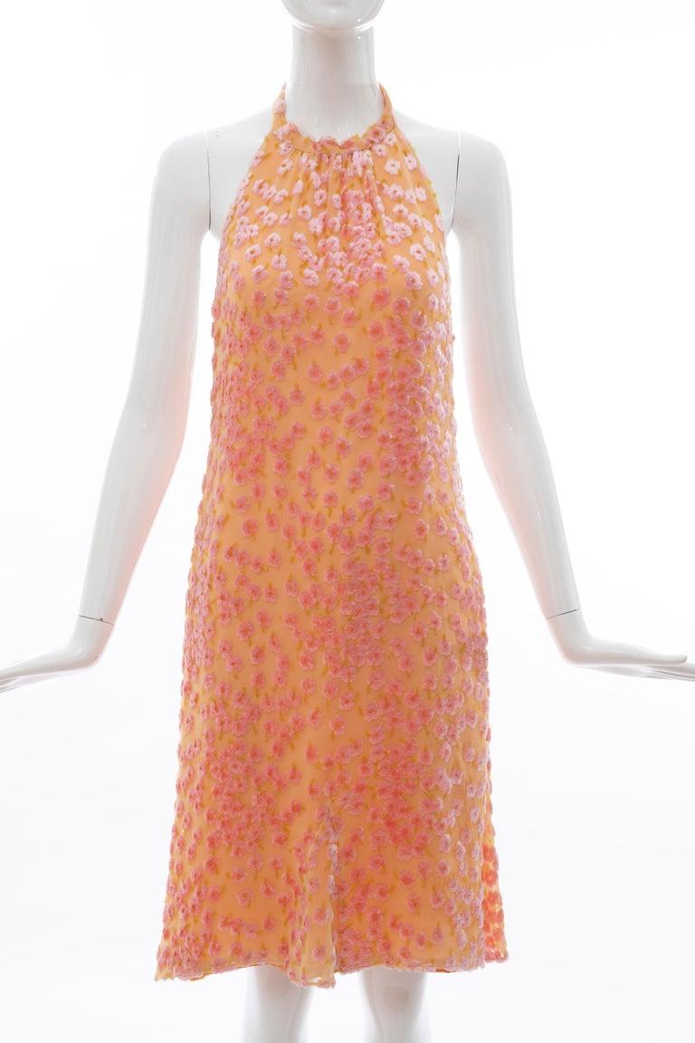 Chanel Tangerine & Pink Voided Silk Chiffon Velvet Halter Dress, Cruise 2001 For Sale 12