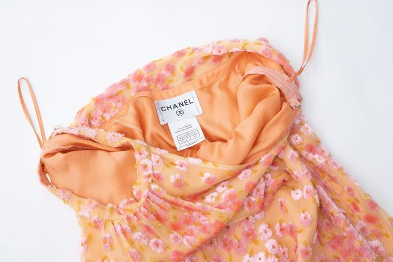 Chanel Tangerine & Pink Voided Silk Chiffon Velvet Halter Dress, Cruise 2001 For Sale 13