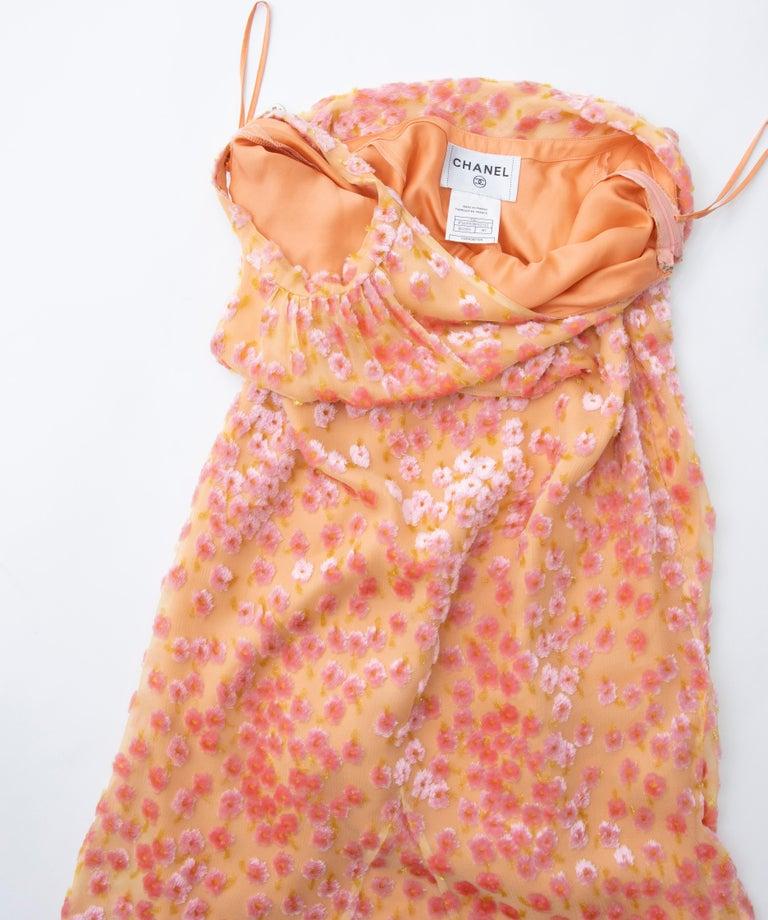 Chanel Tangerine & Pink Voided Silk Chiffon Velvet Halter Dress, Cruise 2001 For Sale 14