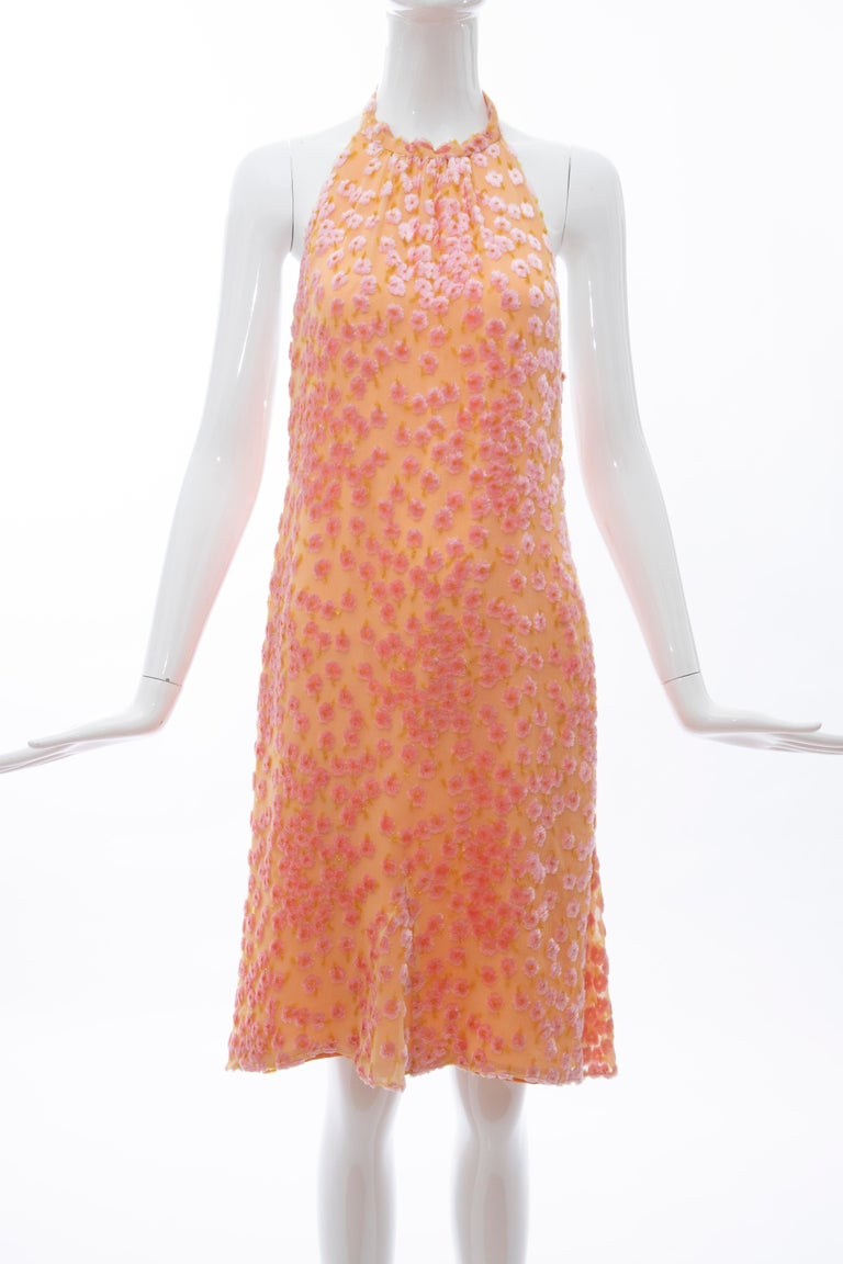 Chanel, Cruise 2001 tangerine & pink voided silk chiffon velvet halter dress, side zip closure and fully lined in silk.  FR. 40 Bust: 30, Waist: 30, Hip: 36, Length: 39