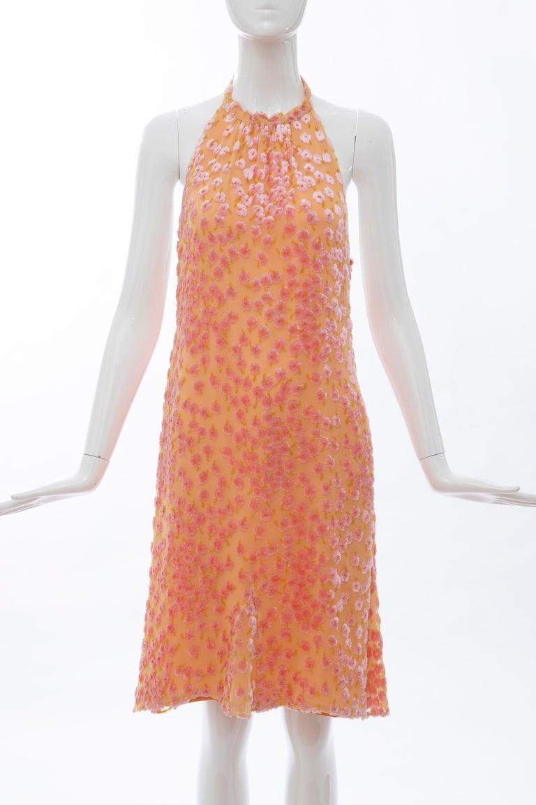 Orange Chanel Tangerine & Pink Voided Silk Chiffon Velvet Halter Dress, Cruise 2001 For Sale