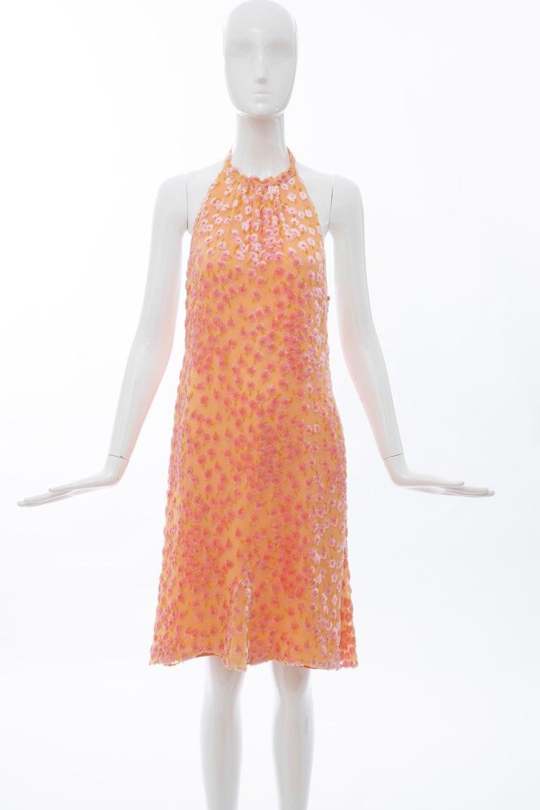 Chanel Tangerine & Pink Voided Silk Chiffon Velvet Halter Dress, Cruise 2001 In Excellent Condition For Sale In Cincinnati, OH
