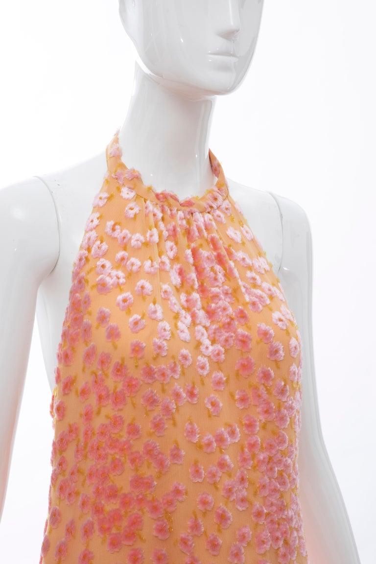 Women's Chanel Tangerine & Pink Voided Silk Chiffon Velvet Halter Dress, Cruise 2001 For Sale
