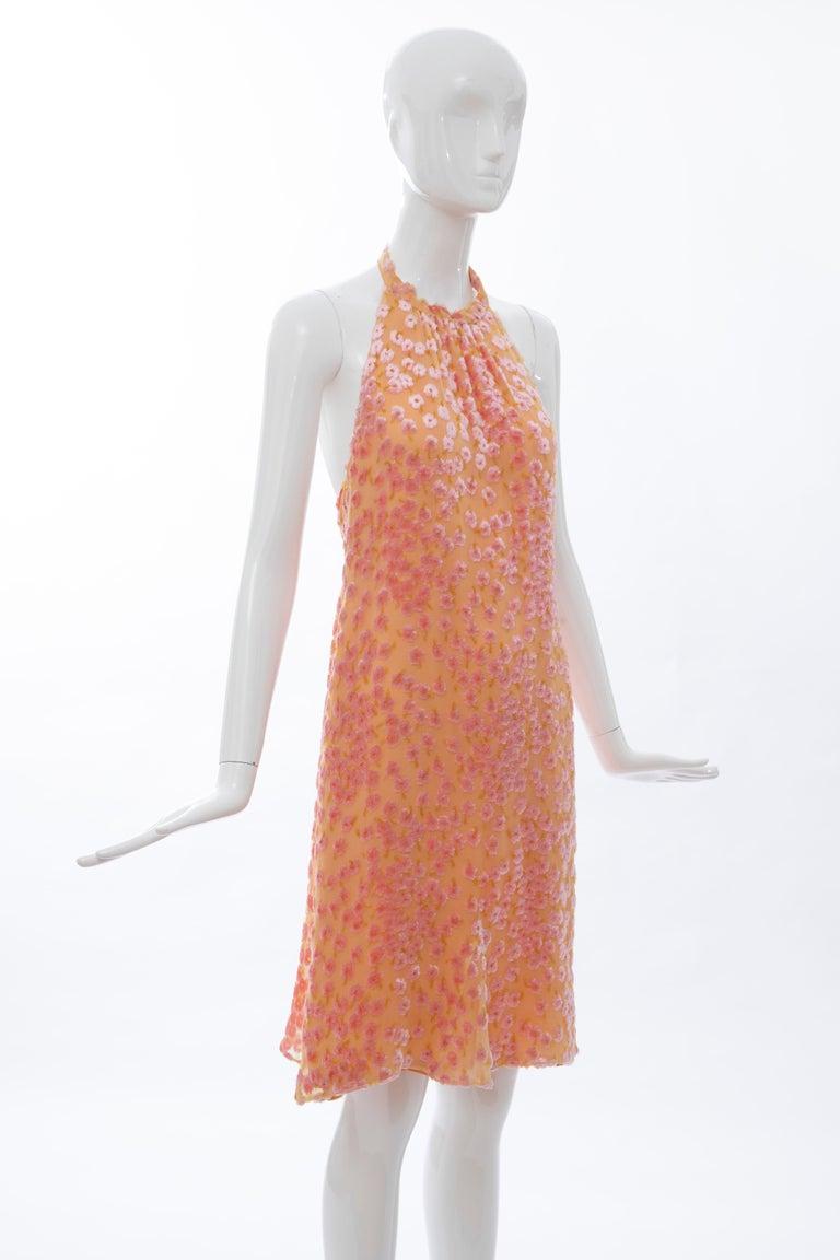 Chanel Tangerine & Pink Voided Silk Chiffon Velvet Halter Dress, Cruise 2001 For Sale 1