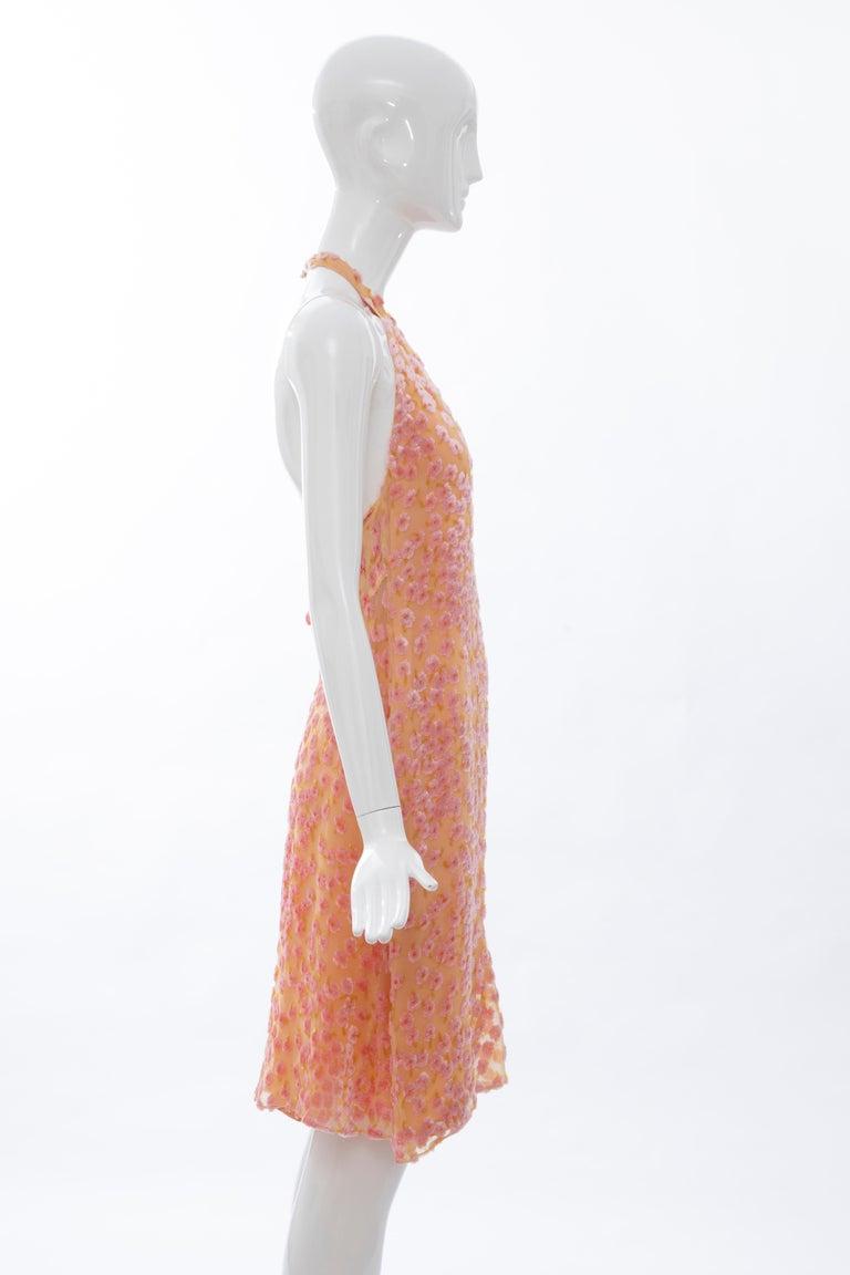 Chanel Tangerine & Pink Voided Silk Chiffon Velvet Halter Dress, Cruise 2001 For Sale 2