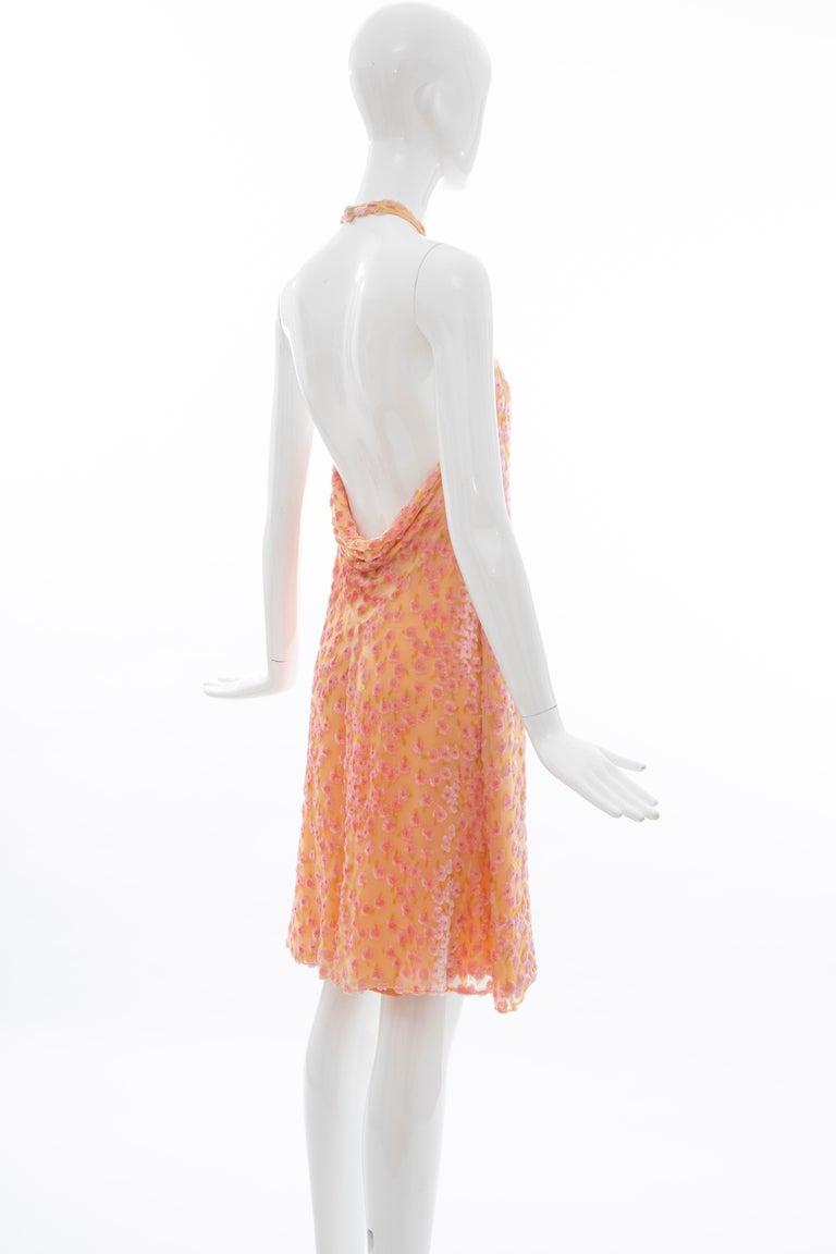 Chanel Tangerine & Pink Voided Silk Chiffon Velvet Halter Dress, Cruise 2001 For Sale 3