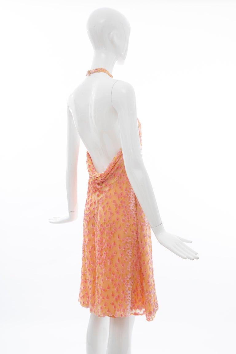 Chanel Tangerine & Pink Voided Silk Chiffon Velvet Halter Dress, Cruise 2001 For Sale 4